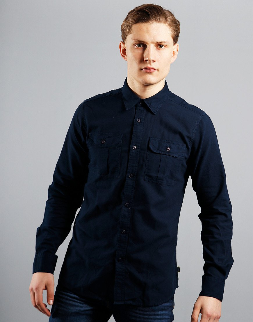 Barbour International Manifold Long Sleeve Shirt Navy