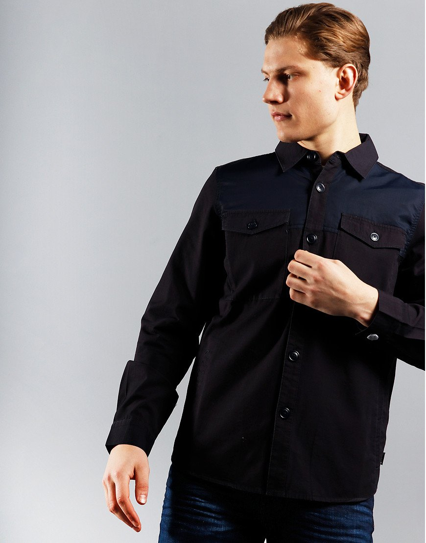 Barbour Seaford Nylon Panelled Overshirt Navy