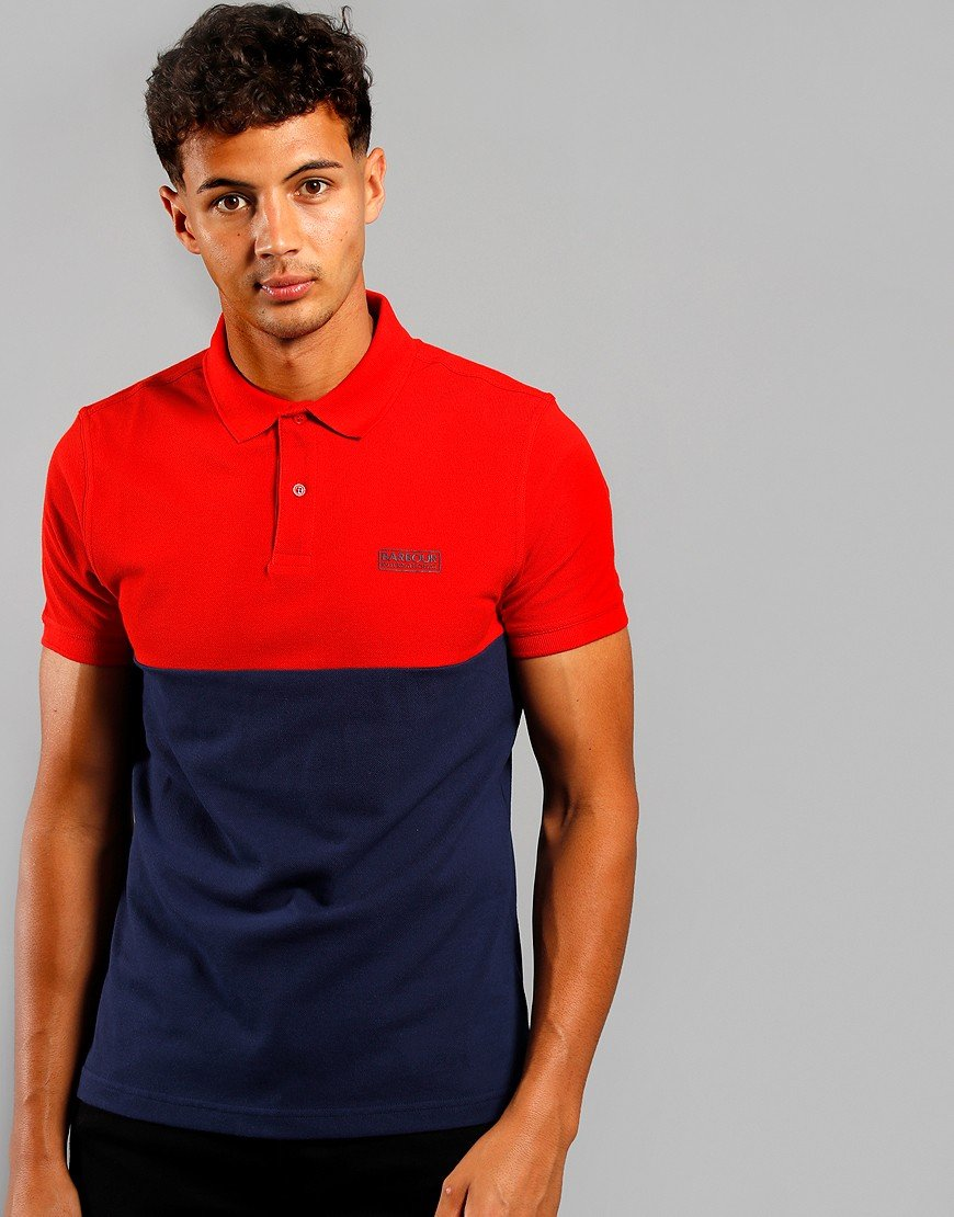 Barbour International Cotter Polo Shirt Lava Red/Navy