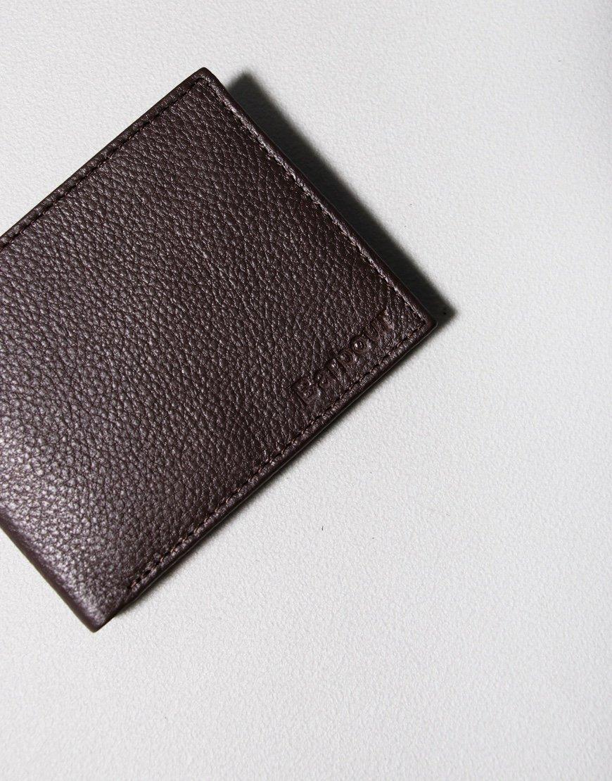 Barbour Amble Leather ID Billfold Wallet Dark Brown