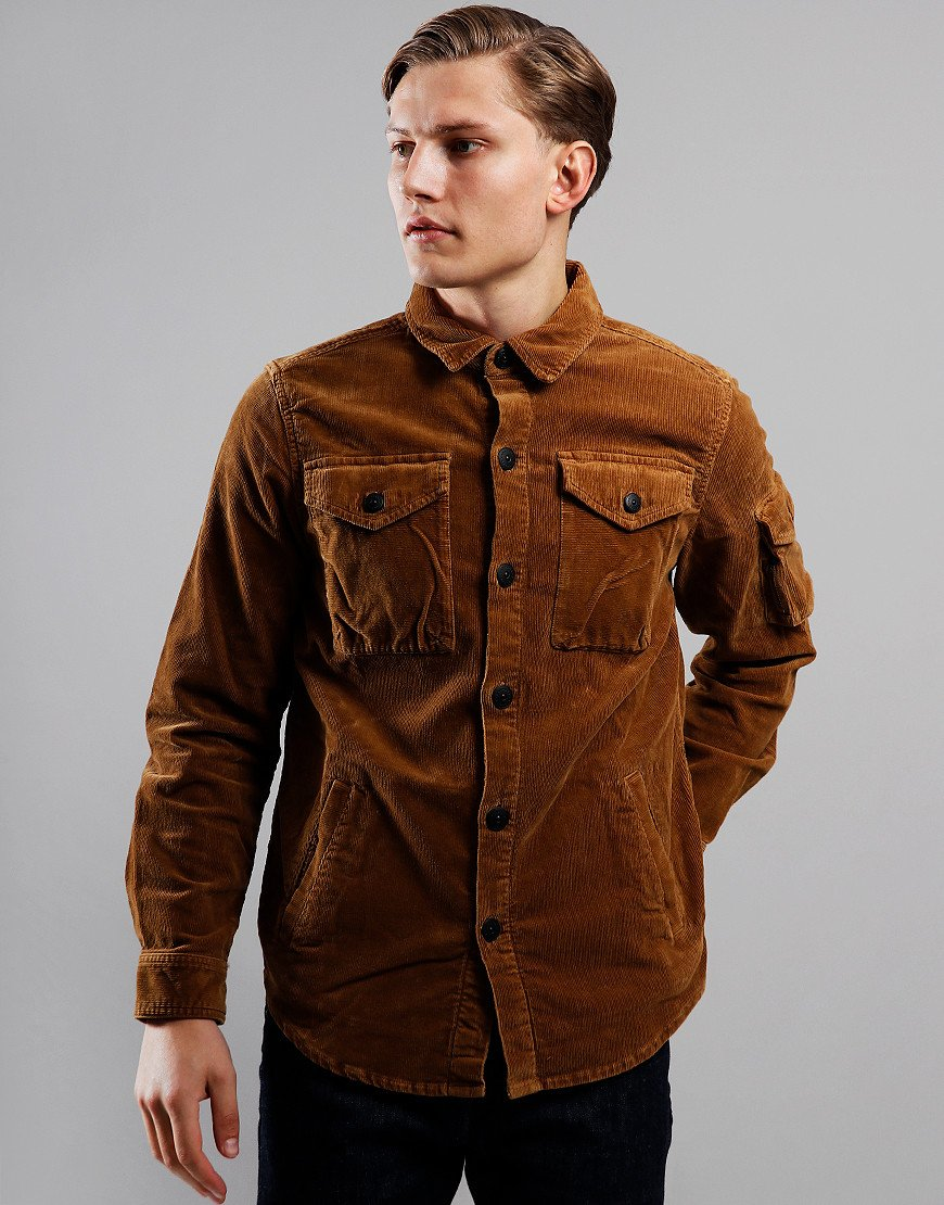 Barbour Beacon Askern Corduroy Overshirt Dark Honey