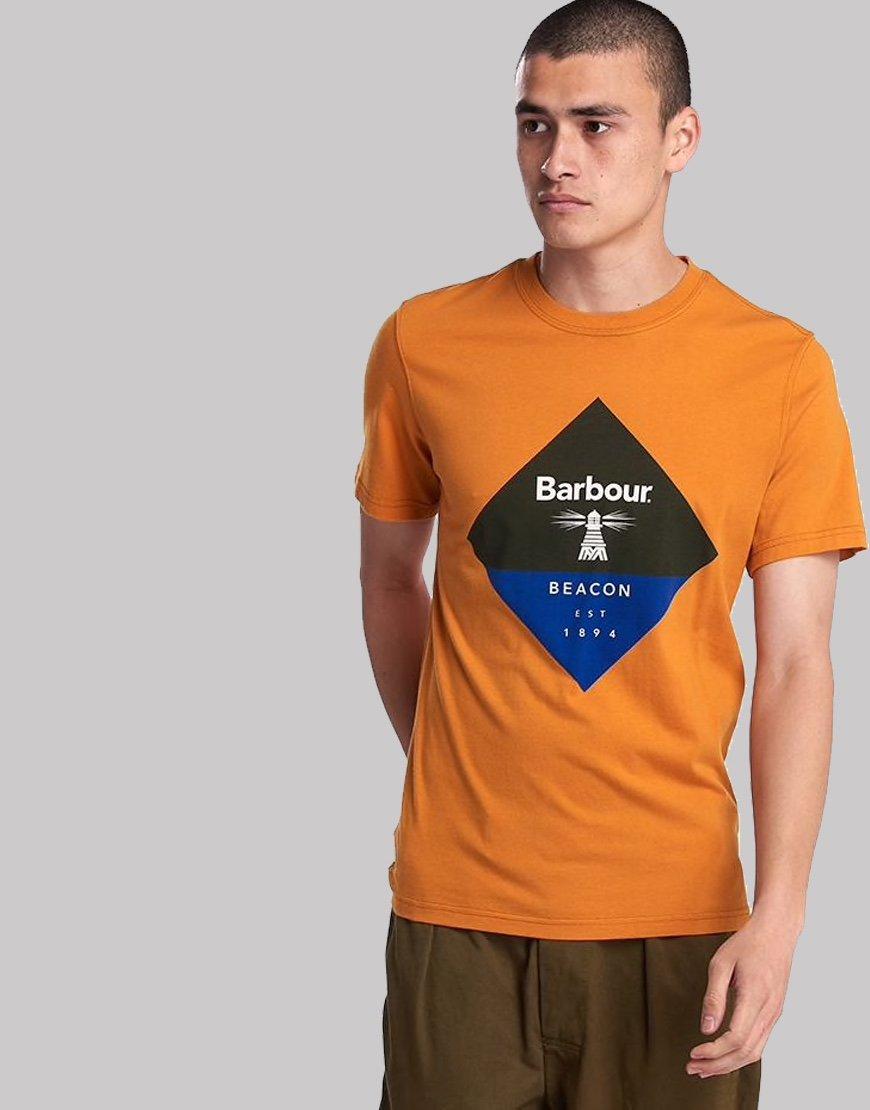 Barbour Beacon Diamond T-Shirt Sunrise