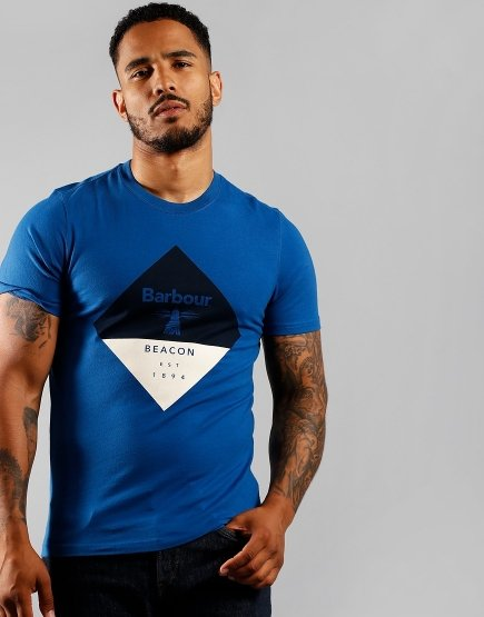 Barbour Beacon Diamond T-Shirt Nautical Blue