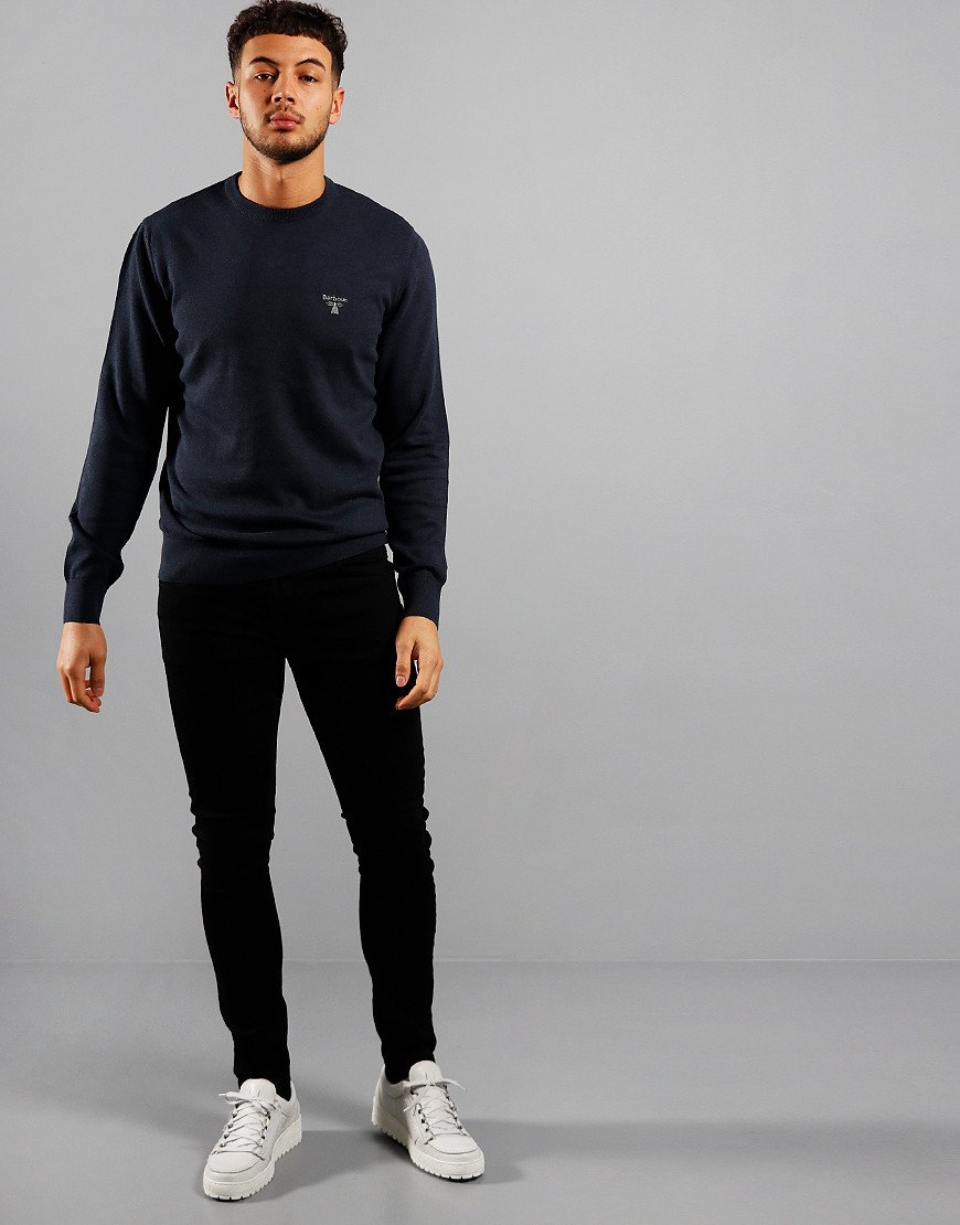 Barbour Beacon Cotton Crew Knit Navy Marl