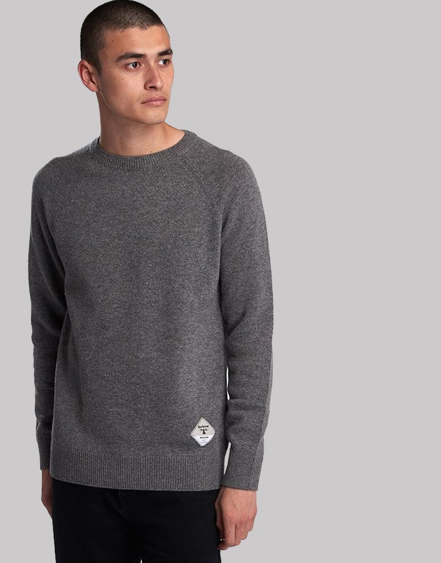 Barbour Beacon Lambswool Crew Neck Knit Grey Marl