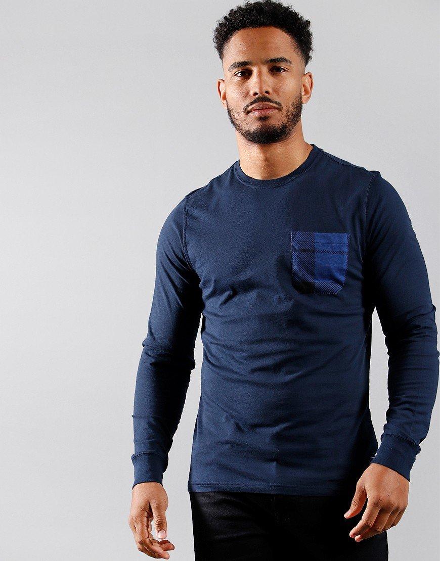 Barbour Beacon Long Sleeve Tartan Pocket T-Shirt Navy