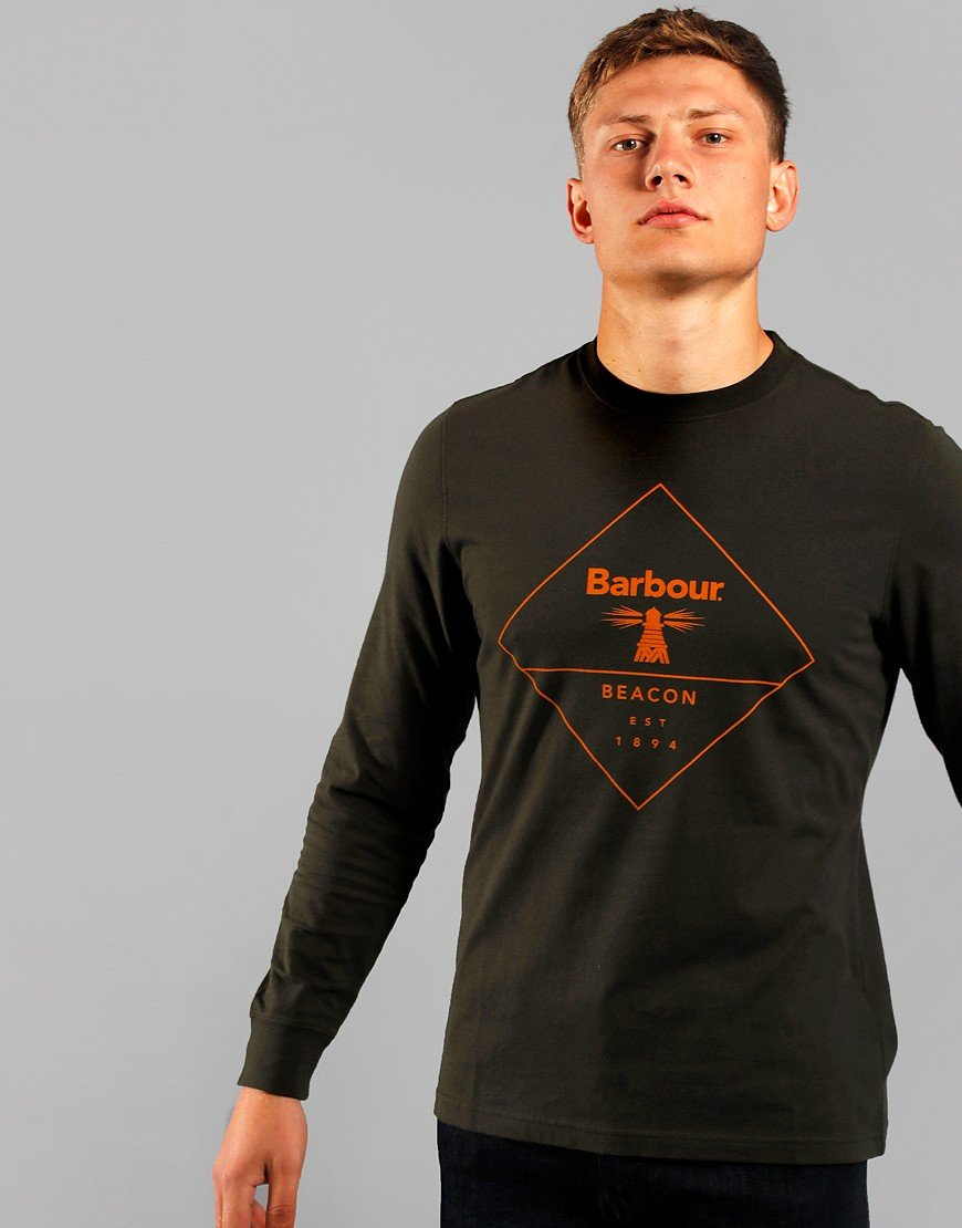 Barbour Beacon Outline Long Sleeve T-Shirt Forest