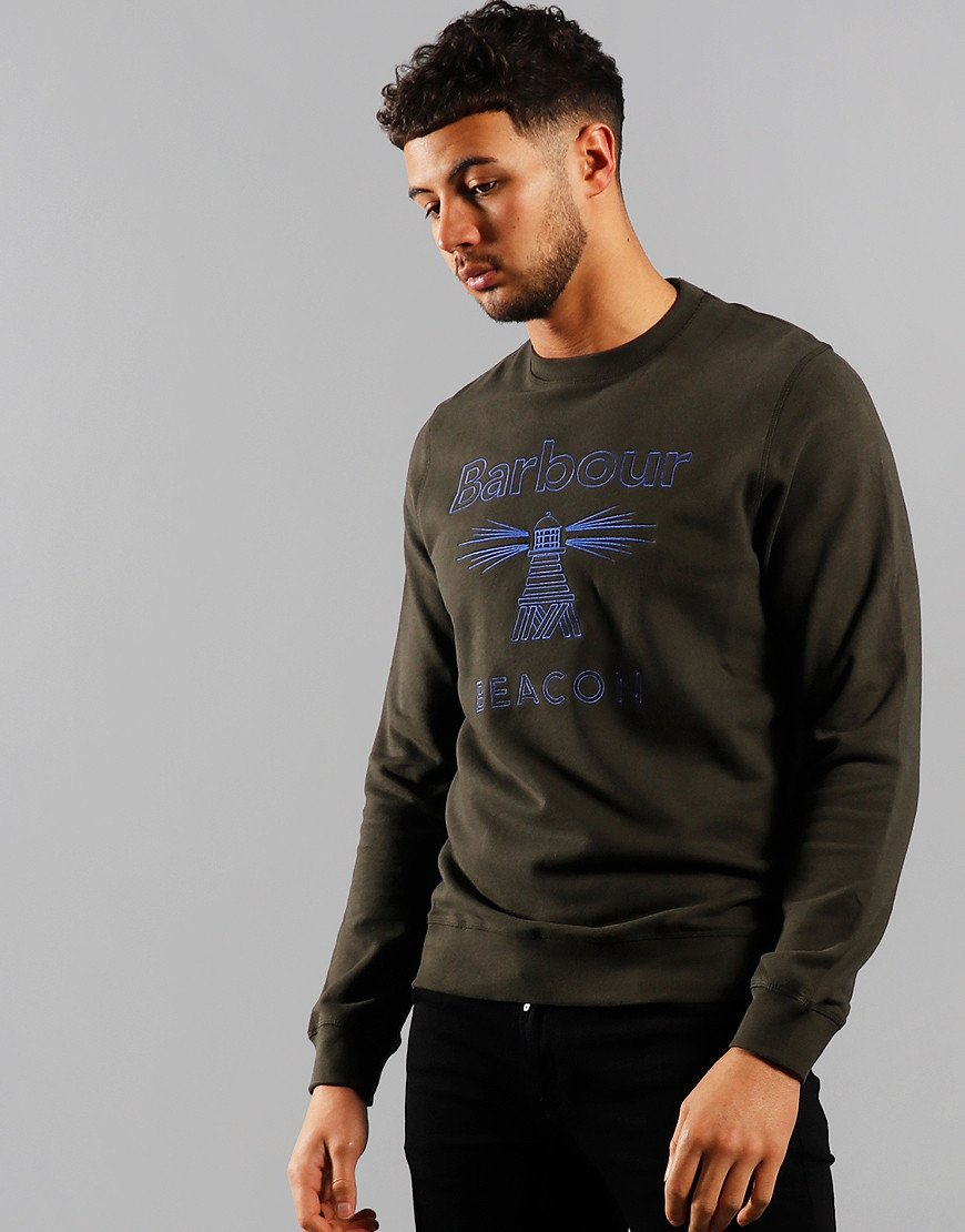 Barbour Beacon Stitch Crew Neck Sweat Forest