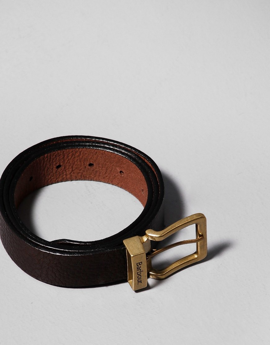 Barbour Blakely Leather Belt Dark Brown