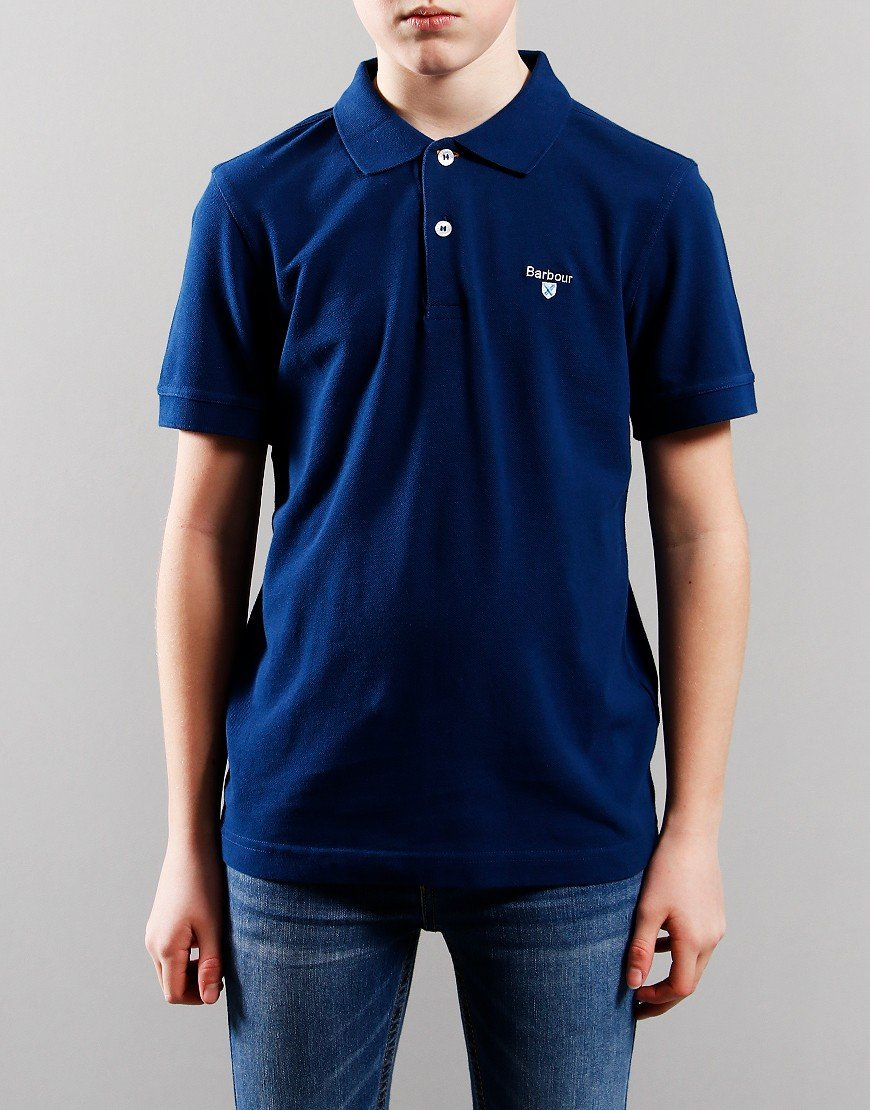 Barbour Children Tartan Polo Shirt Deep Blue