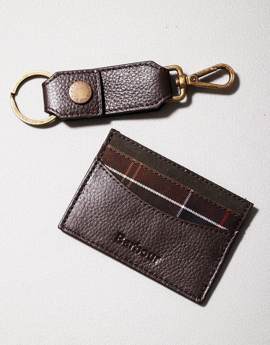 Barbour Clip Keyring & Small Billfold Gift Set Brown