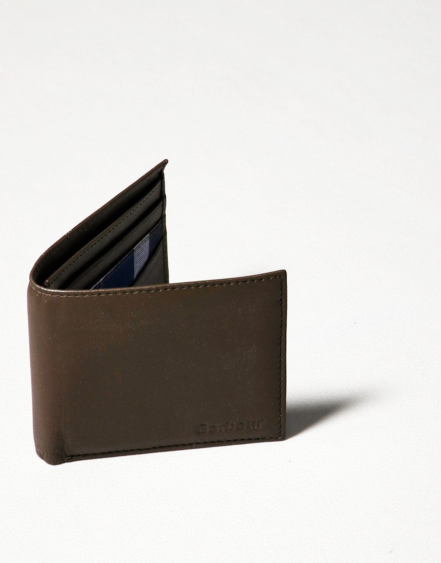 Barbour Colwell Leather Billfold Wallet Olive