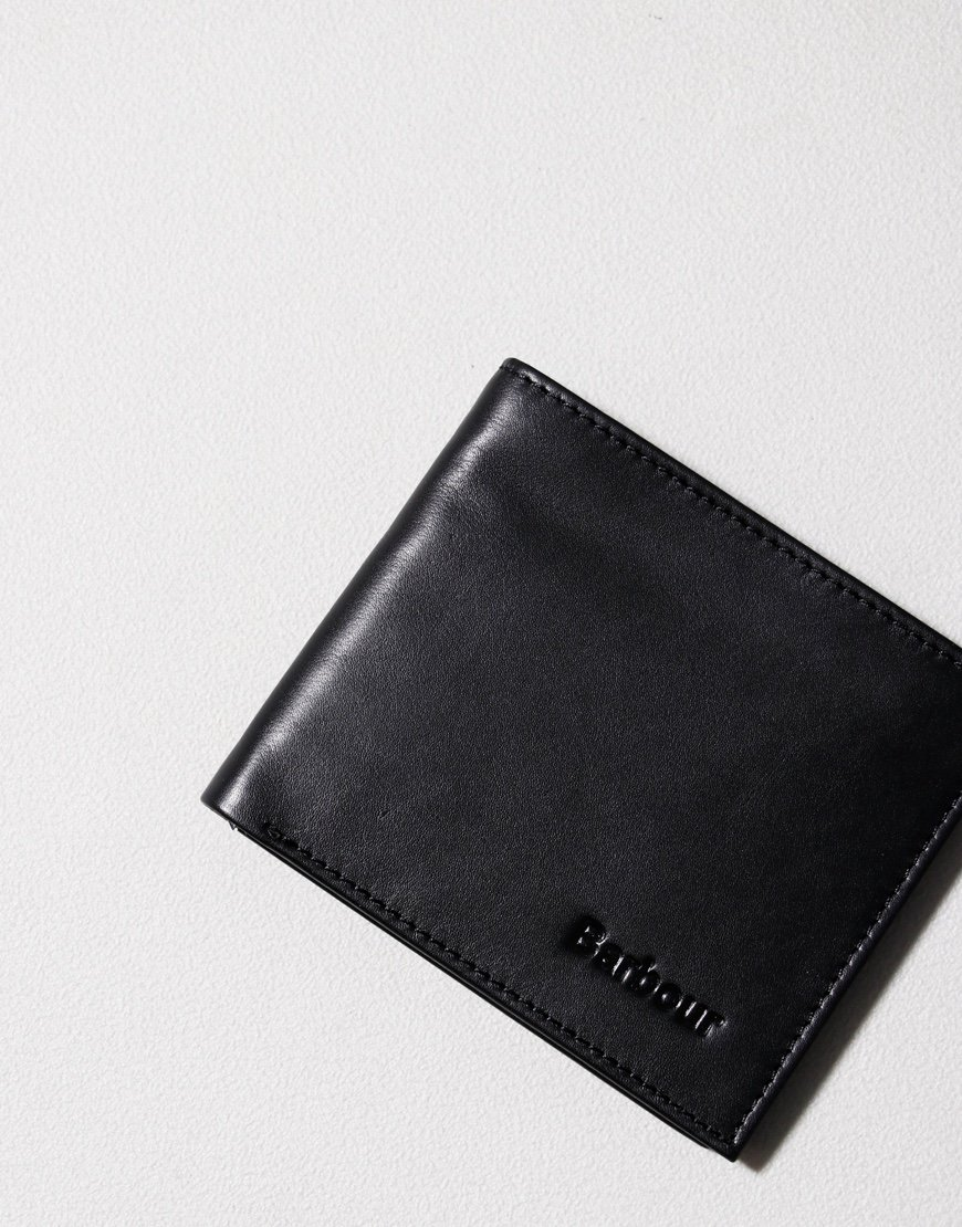 Barbour Colwell Leather Billfold Wallet Black