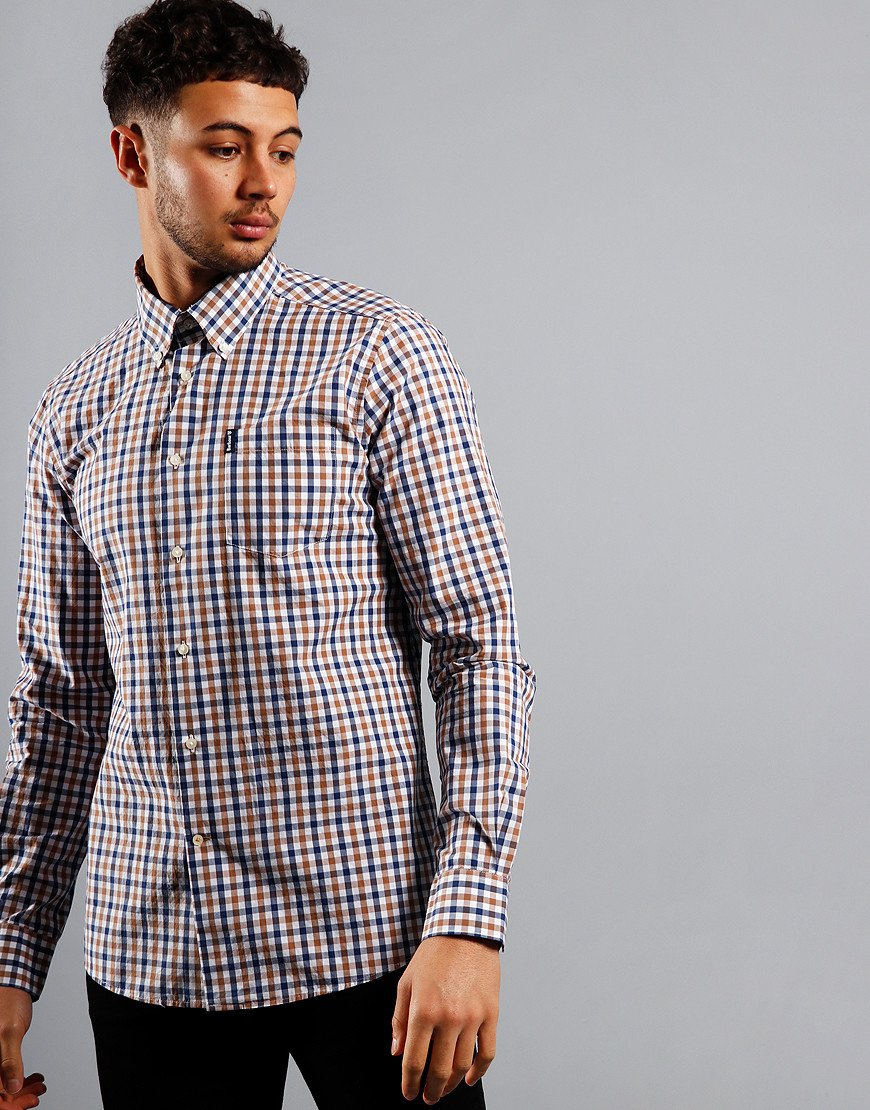 Barbour Gingham 15 Tailored Long Sleeve Shirt Mocha