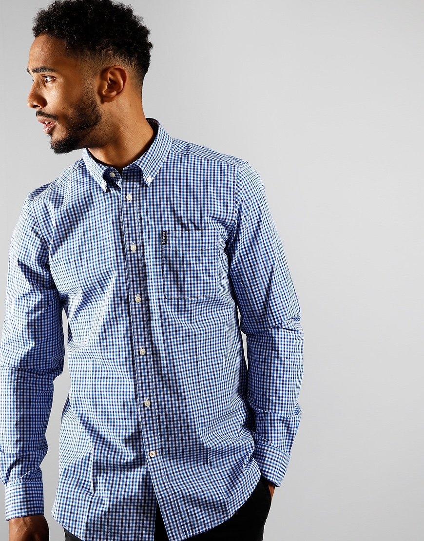 Barbour Gingham 16 Tailored Long Sleeve Shirt Blue