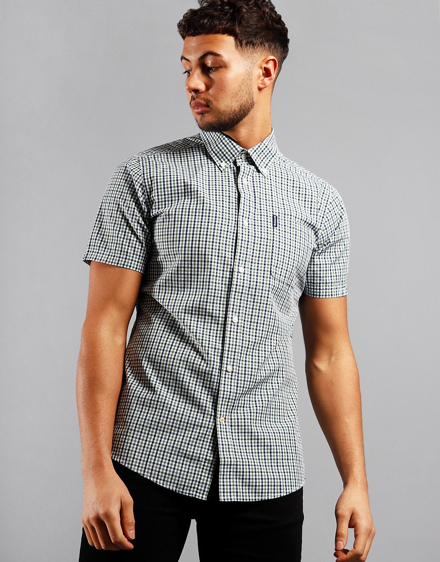 Barbour Gingham 16 Tailored Short Sleeve Shirt Green