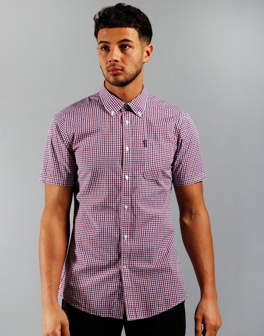 Barbour Gingham 16 Tailored Short Sleeve Shirt Red