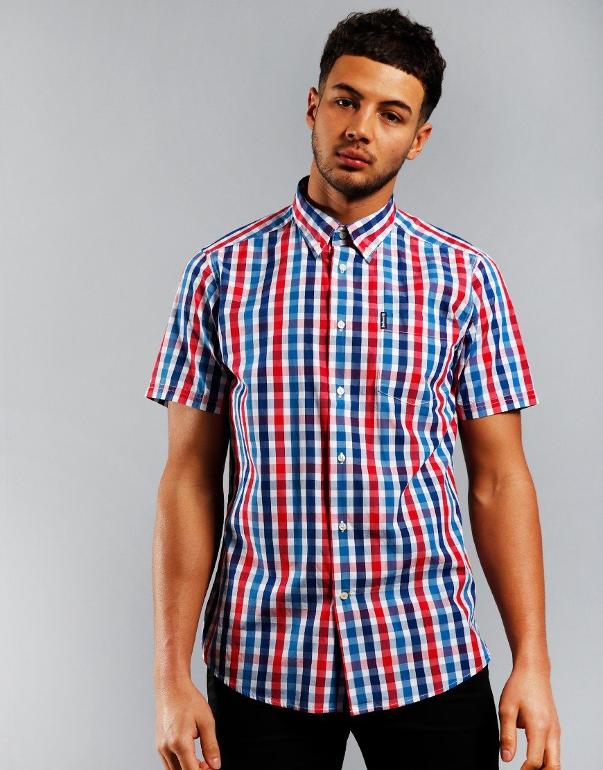 Barbour Gingham 20 Tailored Short Sleeve Shirt Red
