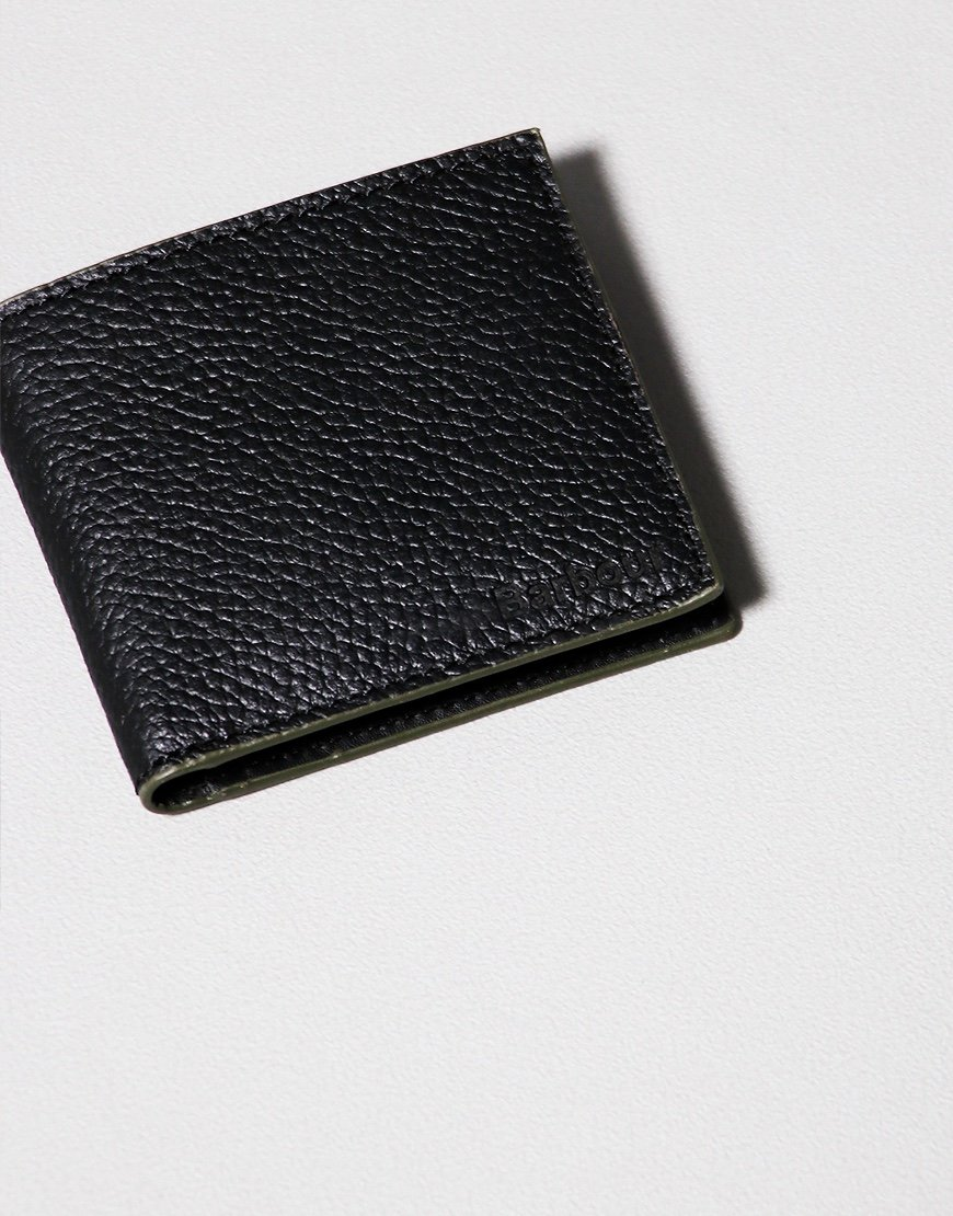 Barbour Grain Leather Coin Billfold Wallet Black