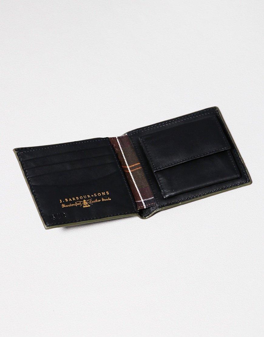 Barbour Grain Leather Coin Billfold Wallet Black