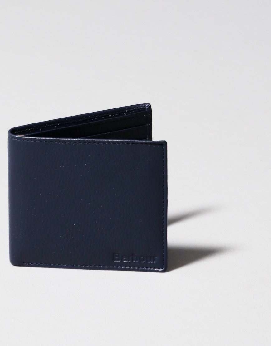 Barbour Amble Leather Billfold Wallet Navy