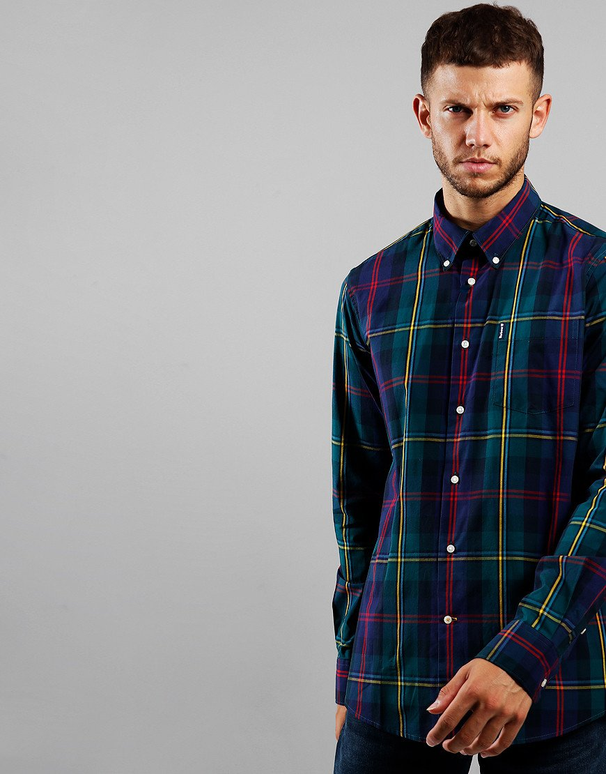 Barbour Highland Check 9 Tailored Long Sleeve Shirt Green