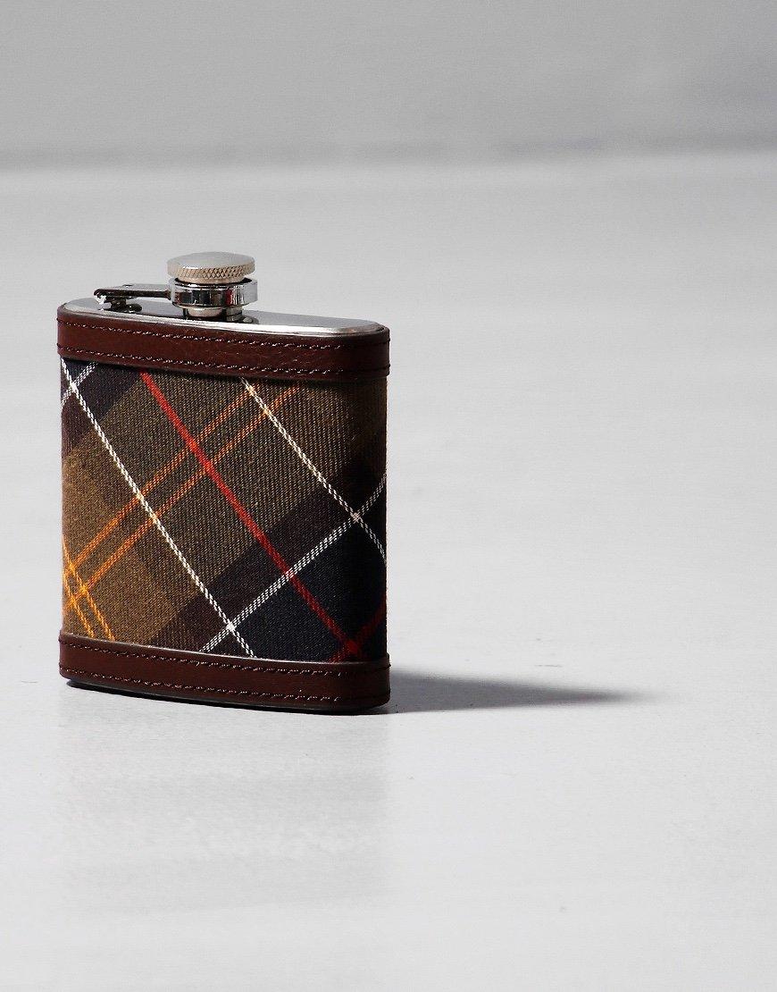 Barbour Tartan Hip Flask Dark Brown