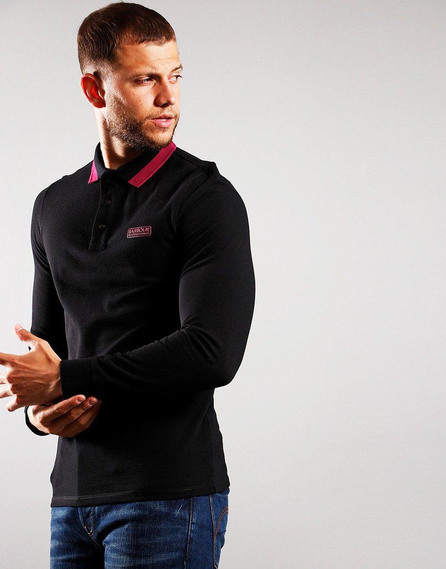 Barbour International Engine Long Sleeve Polo Shirt Black