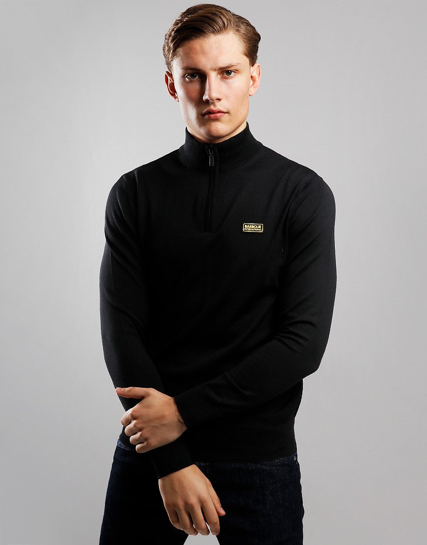 Barbour International Absorb Merino Half Zip Knit Black