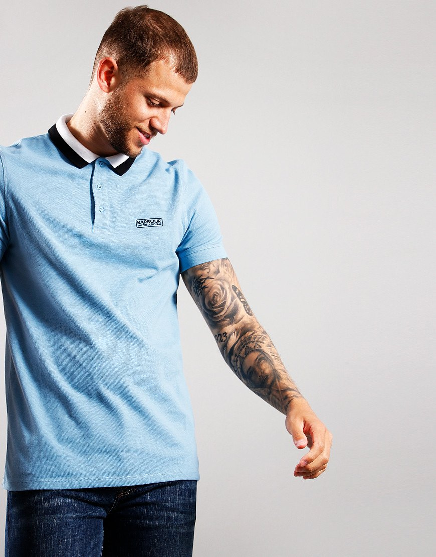 Barbour International Ampere Polo Shirt Cool Blue
