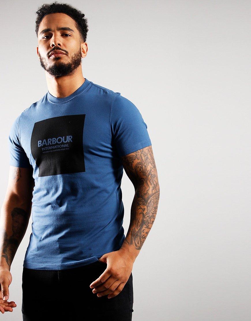 Barbour International Block T-Shirt Mid Blue