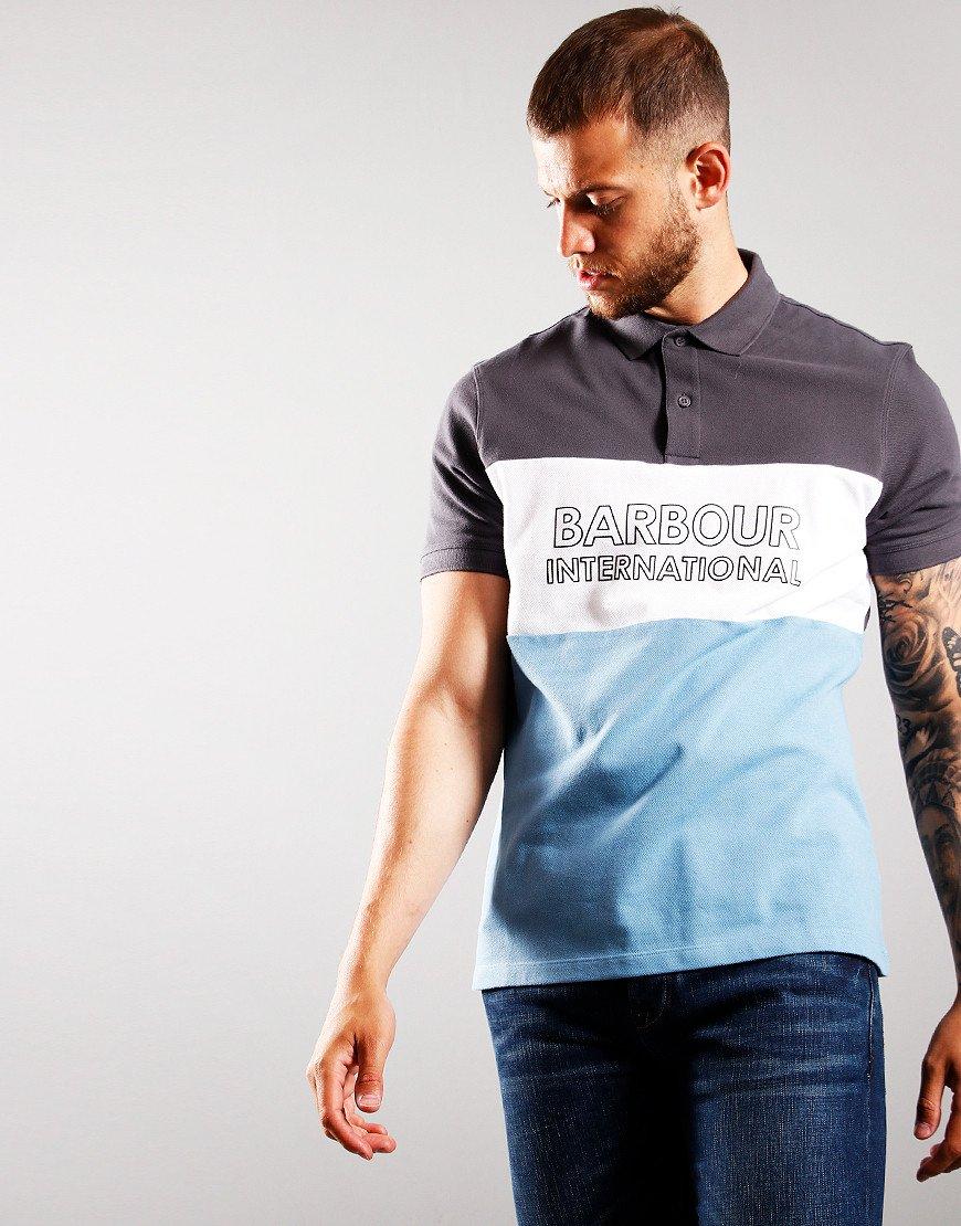 Barbour International Bold Polo Shirt Dusk Grey