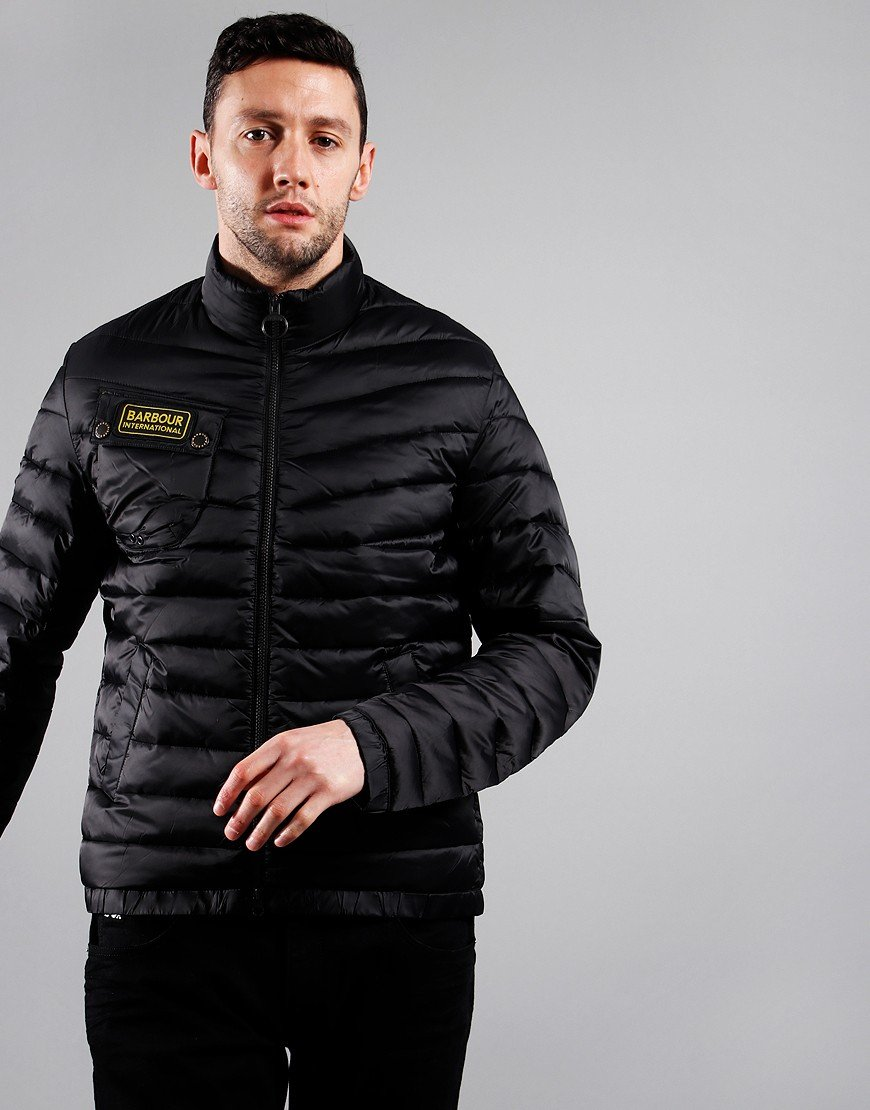 Barbour International Chain Baffle Quilted Jacket Black