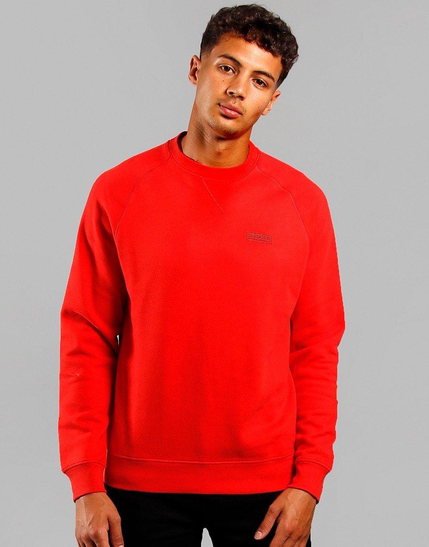 Barbour International Essential Crew Sweatshirt Lava Red