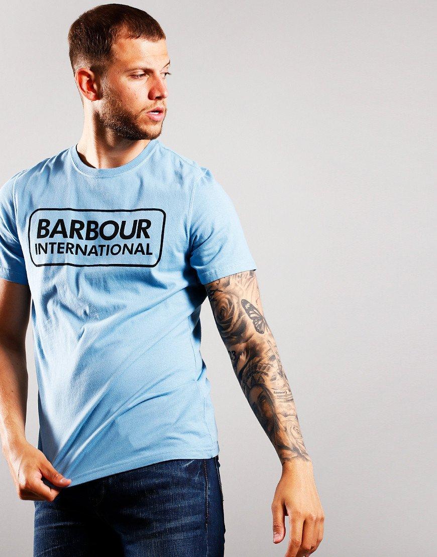 Barbour International Essential Large Logo T-Shirt Cool Blue