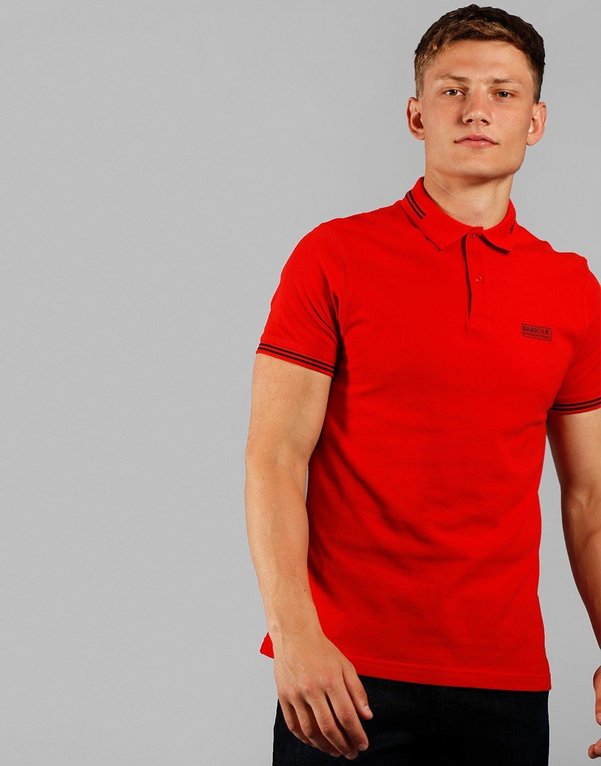 Barbour International Essential Tipped Polo Shirt Lava Red