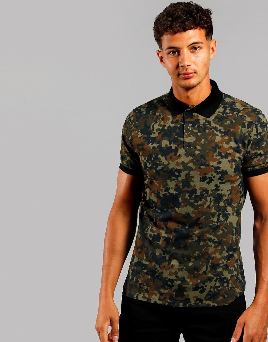Barbour International Hex Camo Polo Shirt  Jungle Green