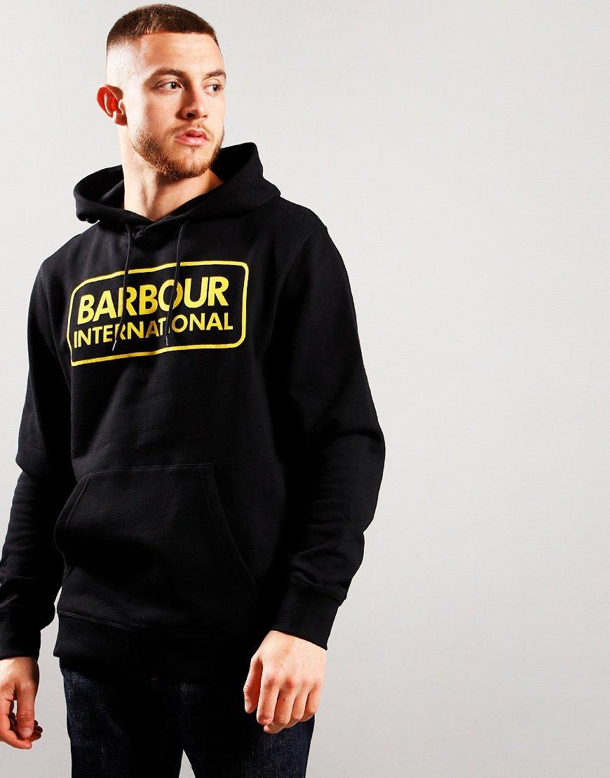 Barbour International Large Logo Hoodie Black
