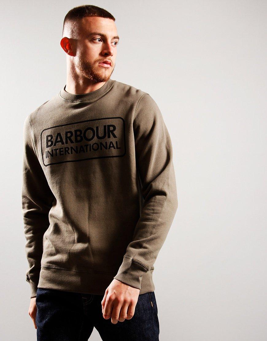 Barbour International Large Logo Crew Neck Sweat Dusky Khaki