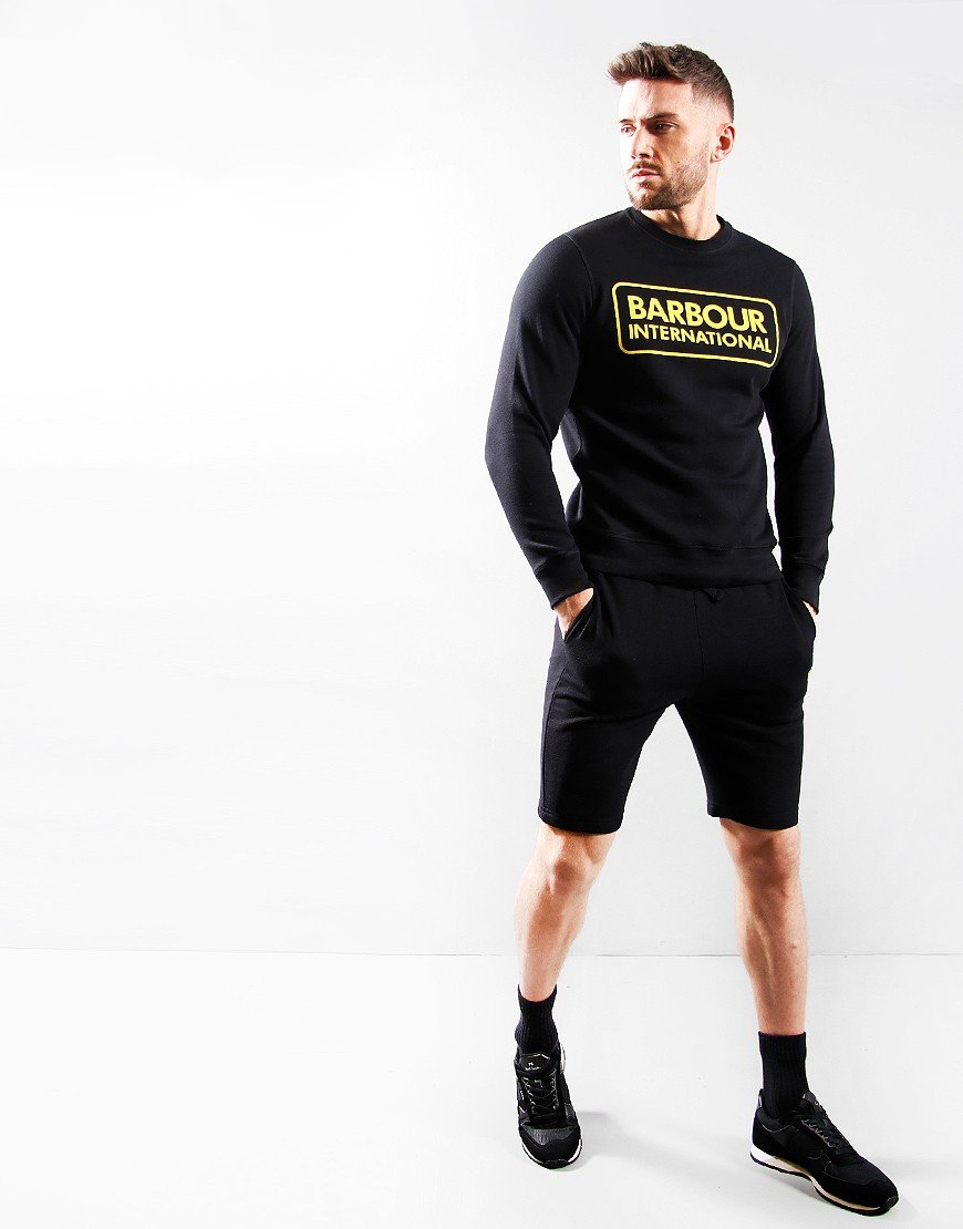 Barbour International Large Logo Crew Neck Sweat Black