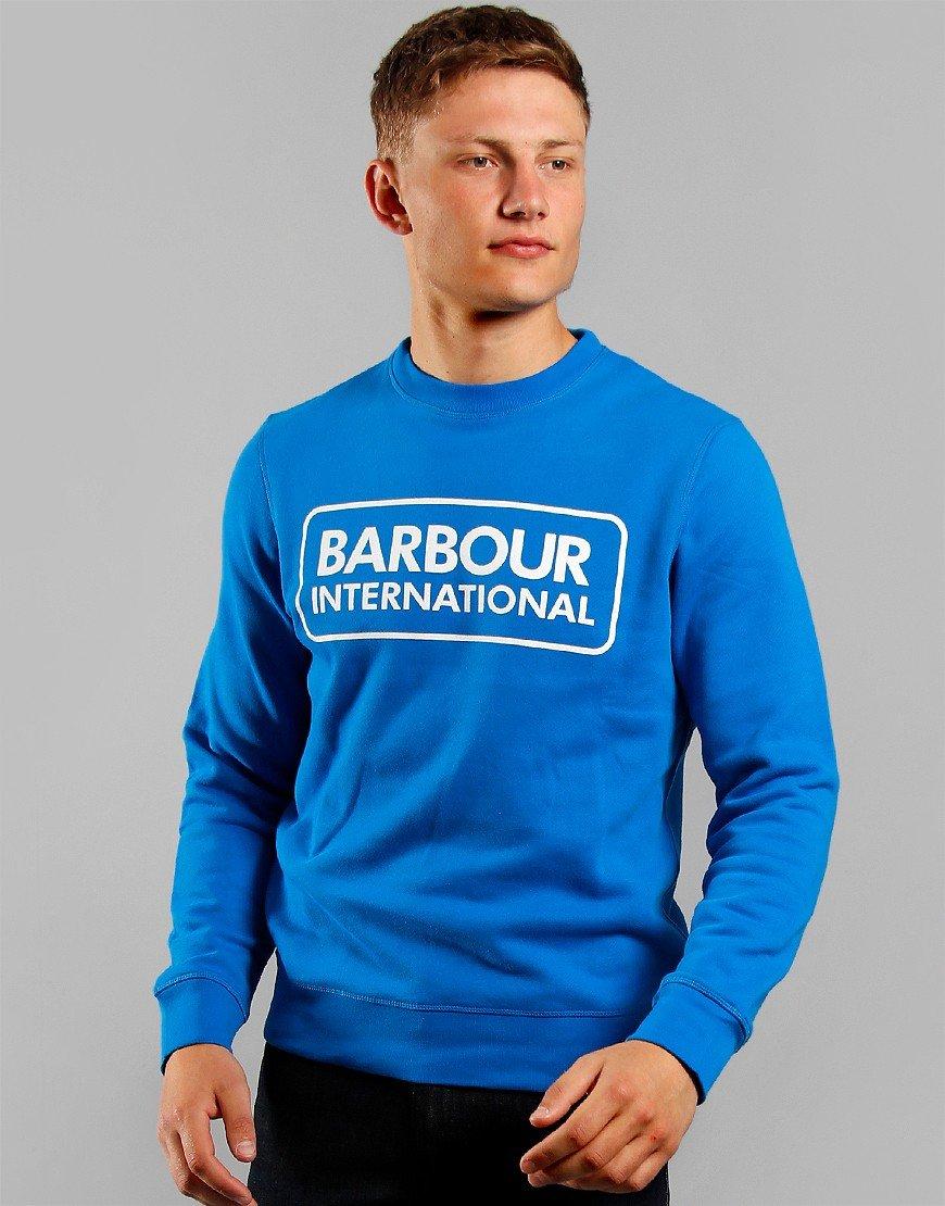 Barbour International Large Logo Crew Neck Sweat Neela Blue