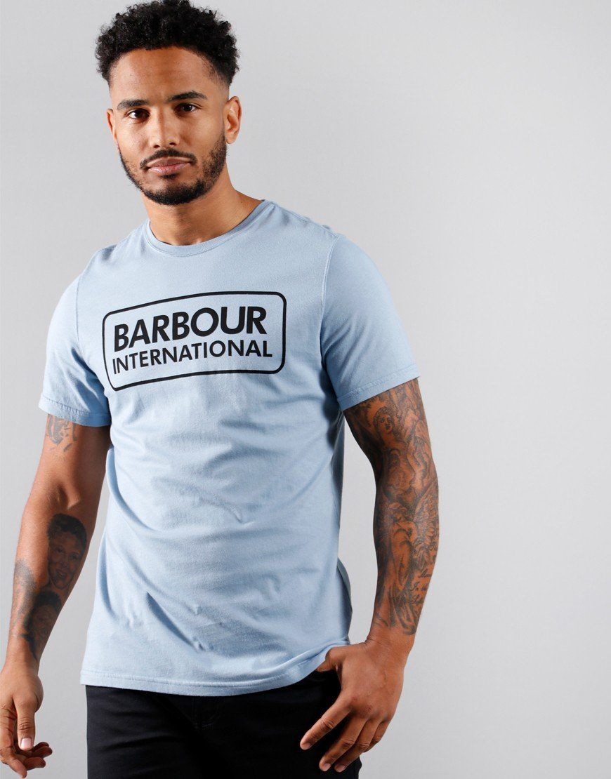 Barbour International Large Logo T-Shirt Powder Blue