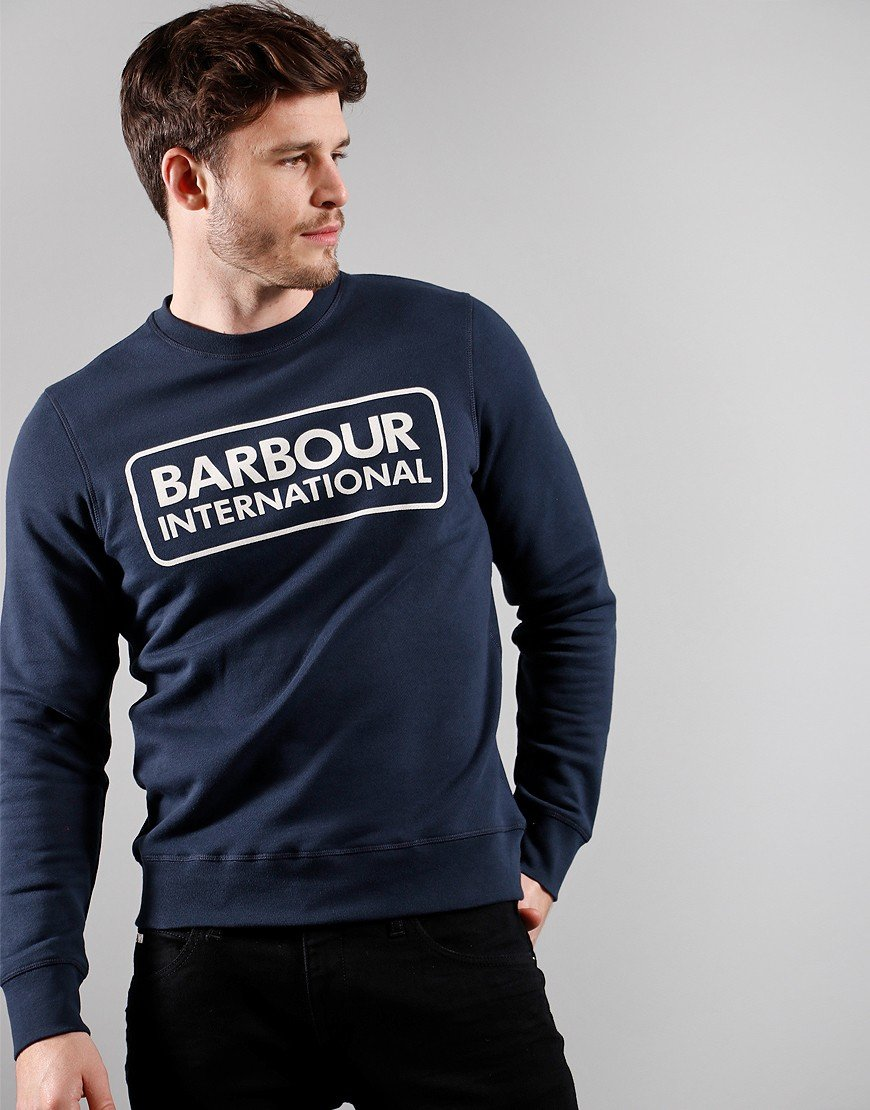 Barbour International Large Logo Crew Neck Sweat Navy