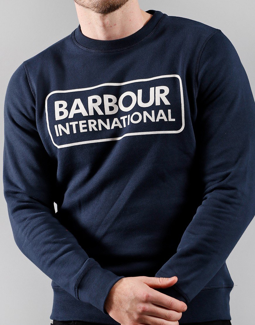Barbour International Large Logo Crew Neck Sweat Navy