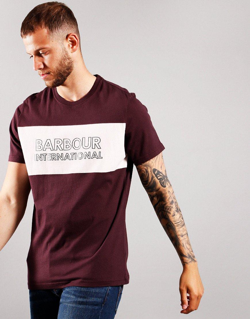 Barbour International Panel Logo T-Shirt Dark Burgundy
