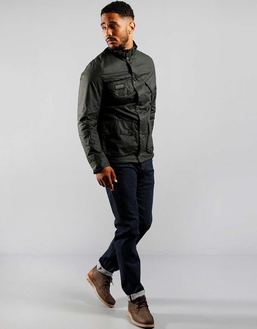 Barbour International SL Waxed Jacket Sage