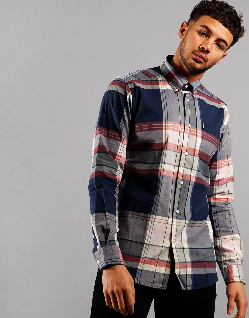 Barbour Madras 7 Long Sleeve Shirt Navy