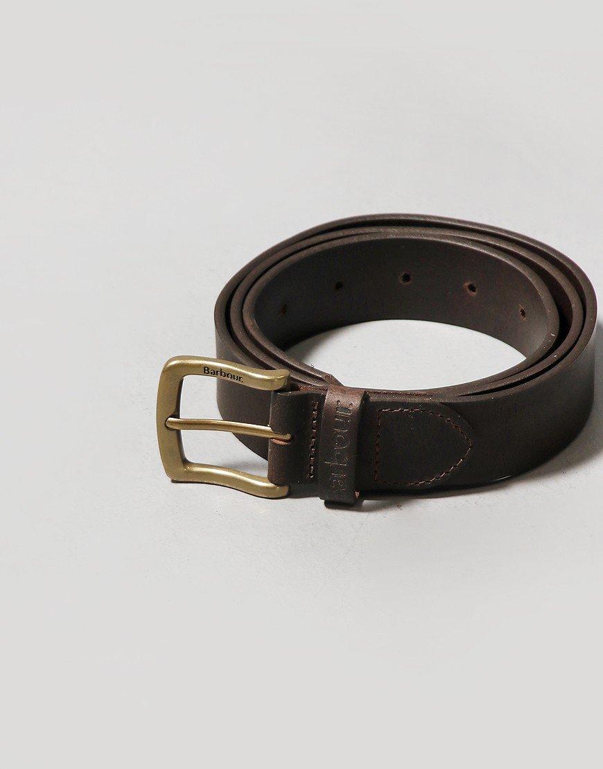 Barbour Oakworth Leather Belt Gift Box Dark Brown