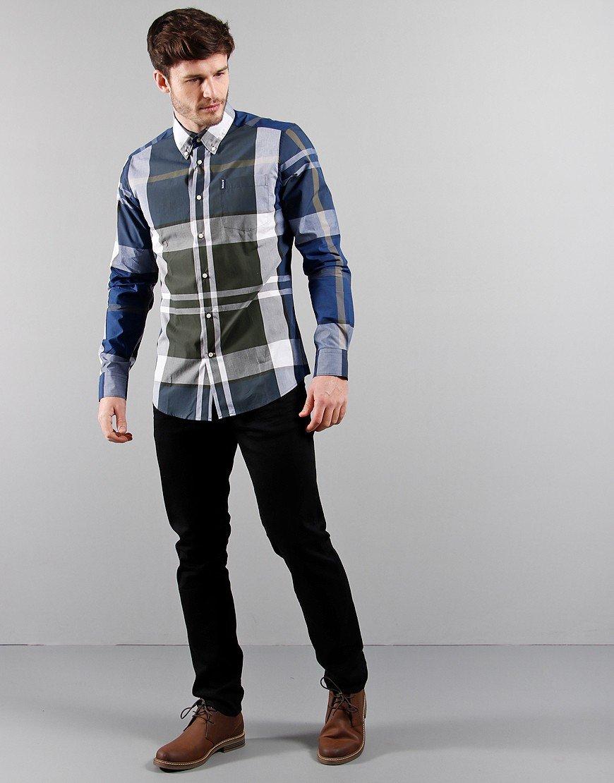 Barbour Tartan 12 Tailored Long Sleeve Shirt Sage