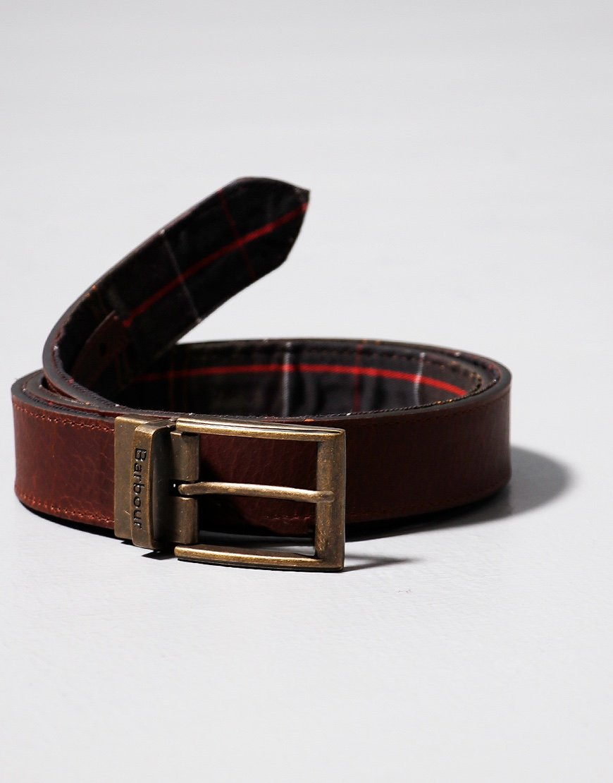 Barbour Tartan Leather Reversible Belt Dark Brown
